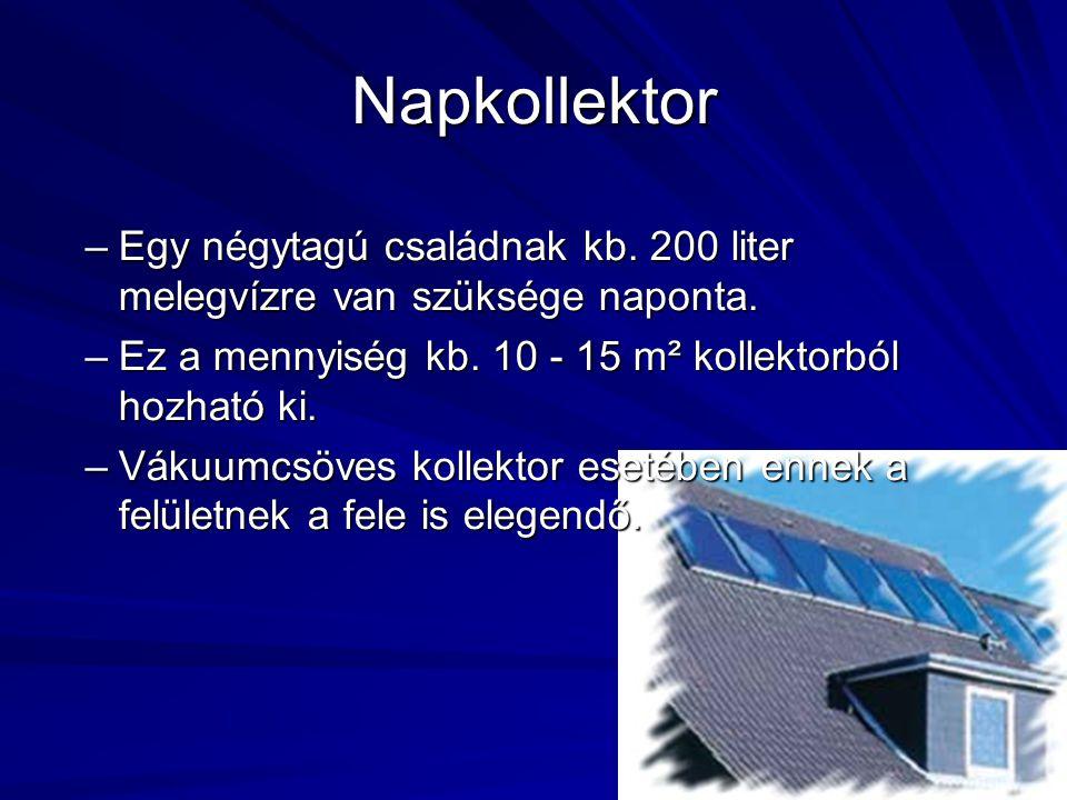 Napkollektor –Egy négytagú családnak kb. 200 liter melegvízre van szüksége naponta. –Ez a mennyiség kb. 10 - 15 m² kollektorból hozható ki. –Vákuumcsö