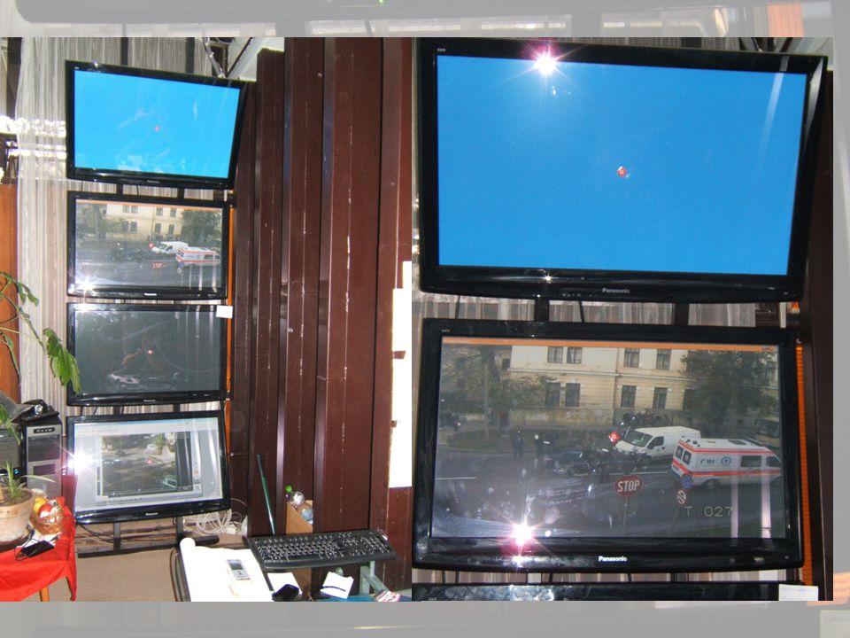 Térfigyelő rendszer működtetése 33 forgatható, jostickolható, éjjellátó kamera Egy rendszámfelismerő kamera Rendőrségen rögzít - ott is figyelhető Kül