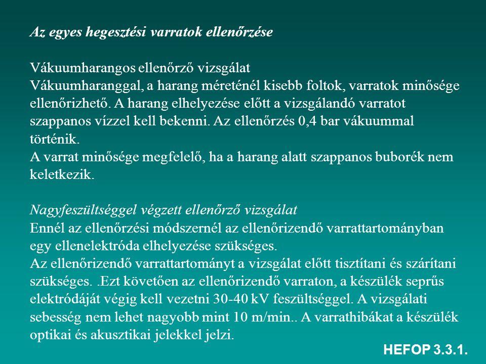 HEFOP 3.3.1. Az egyes hegesztési varratok ellenőrzése Vákuumharangos ellenőrző vizsgálat Vákuumharanggal, a harang méreténél kisebb foltok, varratok m