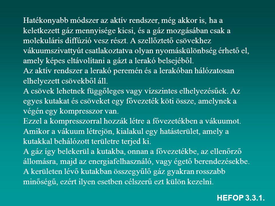 HEFOP 3.3.1. Hatékonyabb módszer az aktív rendszer, még akkor is, ha a keletkezett gáz mennyisége kicsi, és a gáz mozgásában csak a molekuláris diffúz