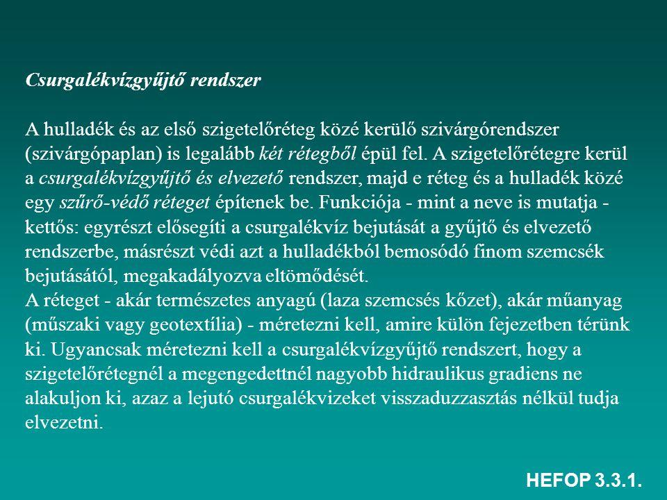 HEFOP 3.3.1. Csurgalékvízgyűjtő rendszer A hulladék és az első szigetelőréteg közé kerülő szivárgórendszer (szivárgópaplan) is legalább két rétegből é