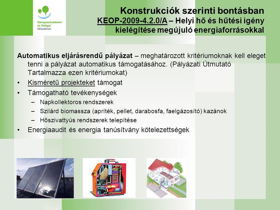 Konstrukciók szerinti bontásban KEOP-2009-4.2.0/A – Helyi hő és hűtési igény kielégítése megújuló energiaforrásokkal Automatikus eljárásrendű pályázat