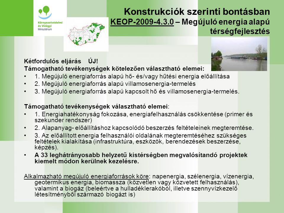 Konstrukciók szerinti bontásban KEOP-2009-4.3.0 – Megújuló energia alapú térségfejlesztés Kétfordulós eljárás ÚJ! Támogatható tevékenységek kötelezően