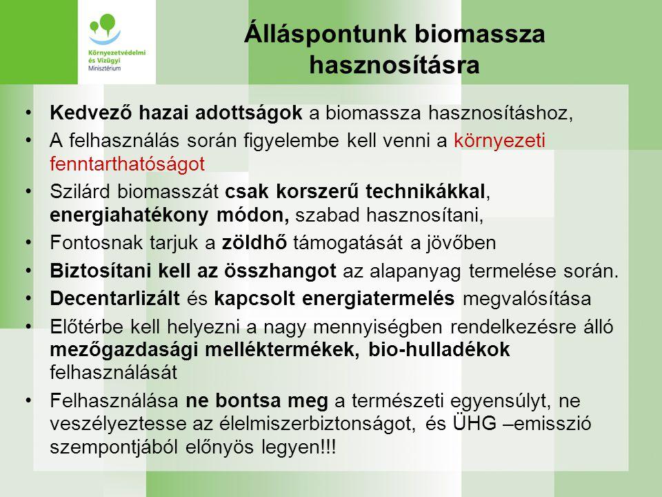 Álláspontunk biomassza hasznosításra Kedvező hazai adottságok a biomassza hasznosításhoz, A felhasználás során figyelembe kell venni a környezeti fenn