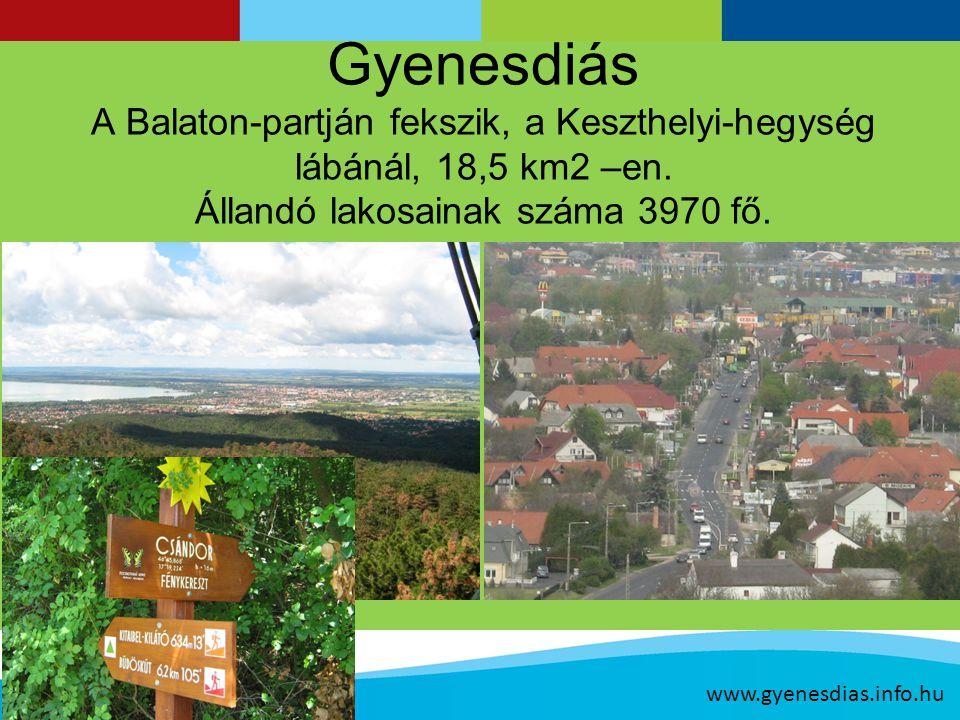 Gyenesdiás A Balaton-partján fekszik, a Keszthelyi-hegység lábánál, 18,5 km2 –en.