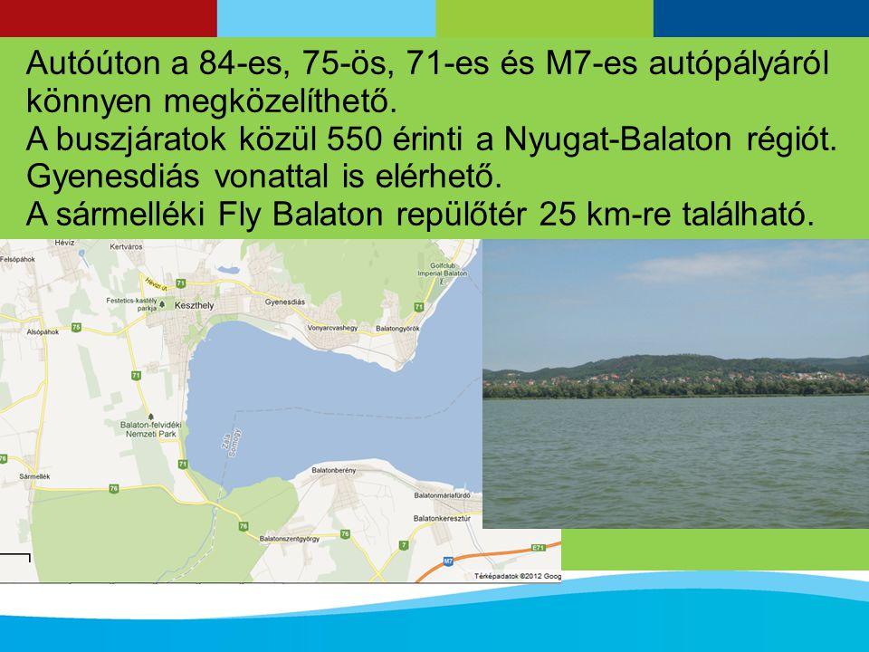 Autóúton a 84-es, 75-ös, 71-es és M7-es autópályáról könnyen megközelíthető.