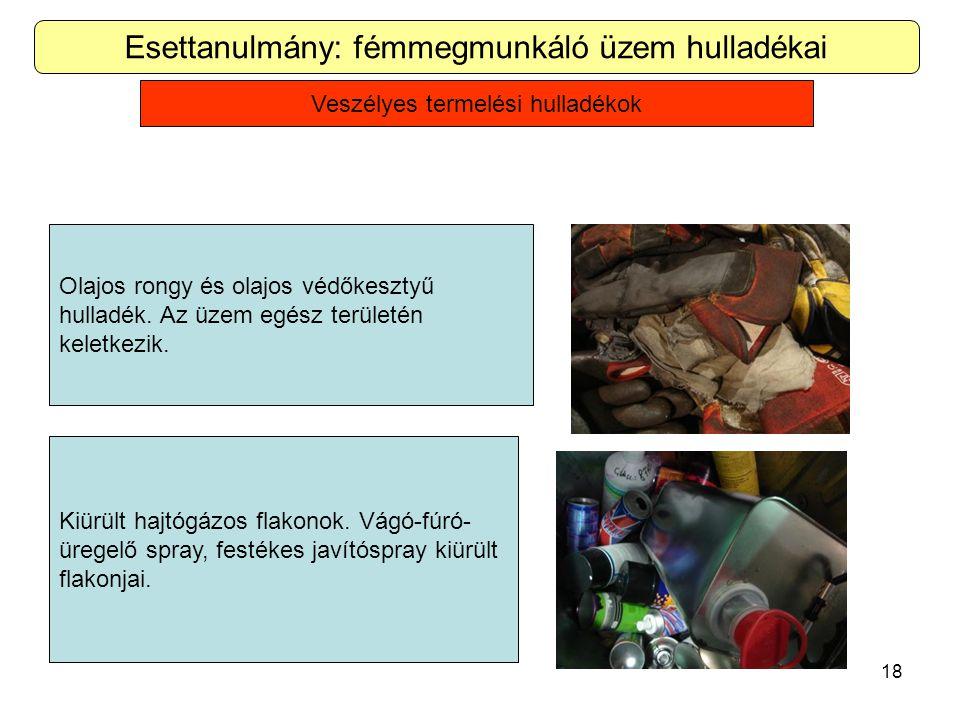 18 Esettanulmány: fémmegmunkáló üzem hulladékai Olajos rongy és olajos védőkesztyű hulladék.