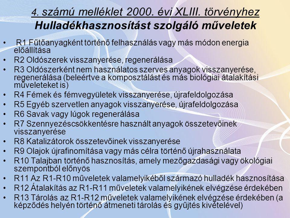 4.számú melléklet 2000. évi XLIII.
