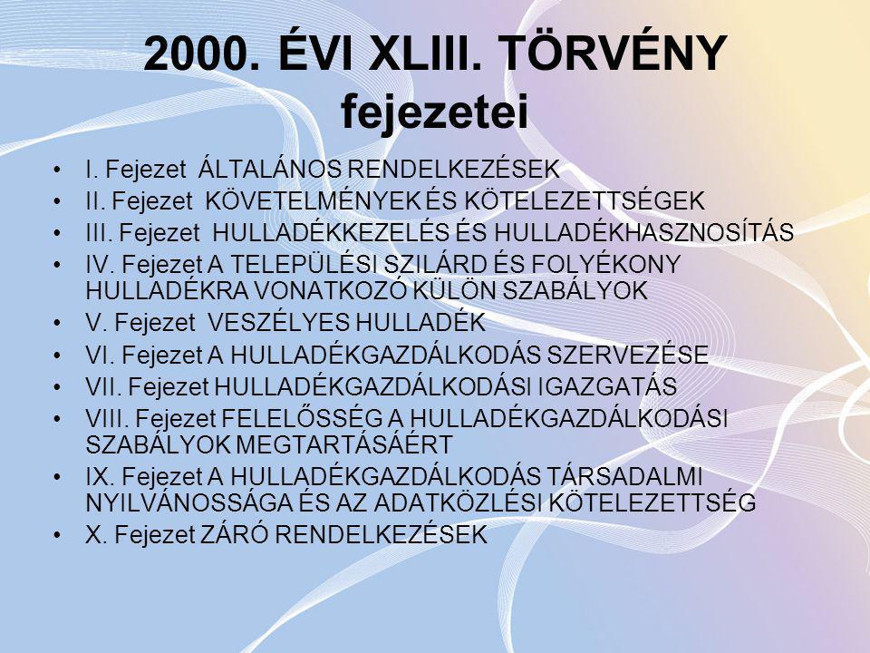 2000.ÉVI XLIII. TÖRVÉNY fejezetei I. Fejezet ÁLTALÁNOS RENDELKEZÉSEK II.