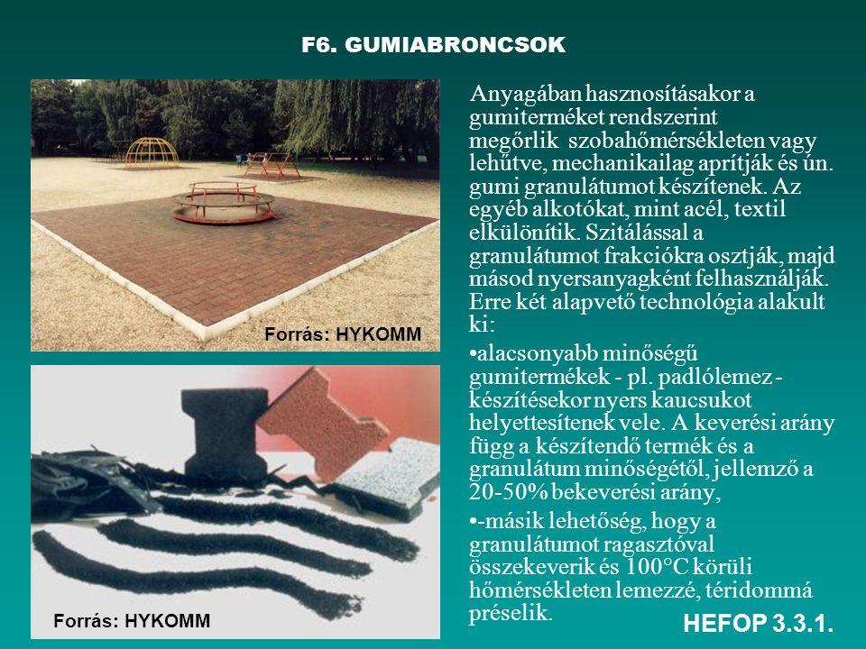 HEFOP 3.3.1. Anyagában hasznosításakor a gumiterméket rendszerint megőrlik szobahőmérsékleten vagy lehűtve, mechanikailag aprítják és ún. gumi granulá