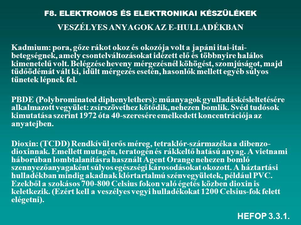 HEFOP 3.3.1. F8. ELEKTROMOS ÉS ELEKTRONIKAI KÉSZÜLÉKEK VESZÉLYES ANYAGOK AZ E-HULLADÉKBAN Kadmium: pora, gőze rákot okoz és okozója volt a japáni itai