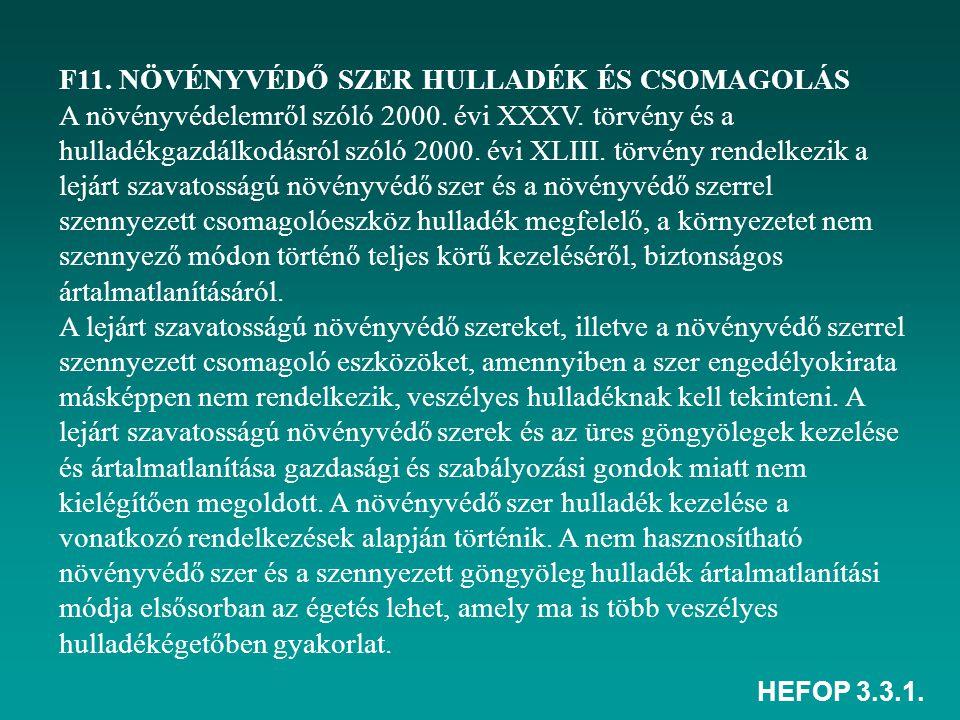 HEFOP 3.3.1. F11. NÖVÉNYVÉDŐ SZER HULLADÉK ÉS CSOMAGOLÁS A növényvédelemről szóló 2000. évi XXXV. törvény és a hulladékgazdálkodásról szóló 2000. évi
