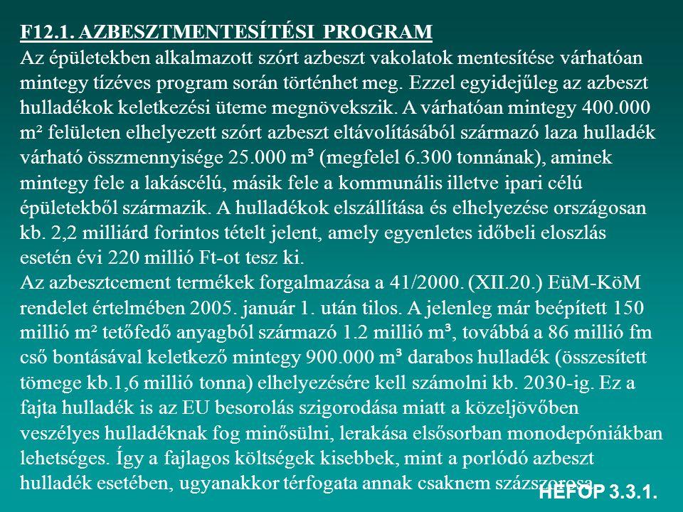 HEFOP 3.3.1. F12.1. AZBESZTMENTESÍTÉSI PROGRAM Az épületekben alkalmazott szórt azbeszt vakolatok mentesítése várhatóan mintegy tízéves program során