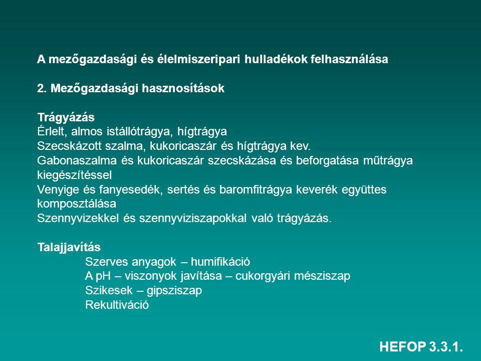 HEFOP 3.3.1. A mezőgazdasági és élelmiszeripari hulladékok felhasználása 2. Mezőgazdasági hasznosítások Trágyázás Érlelt, almos istállótrágya, hígtrág