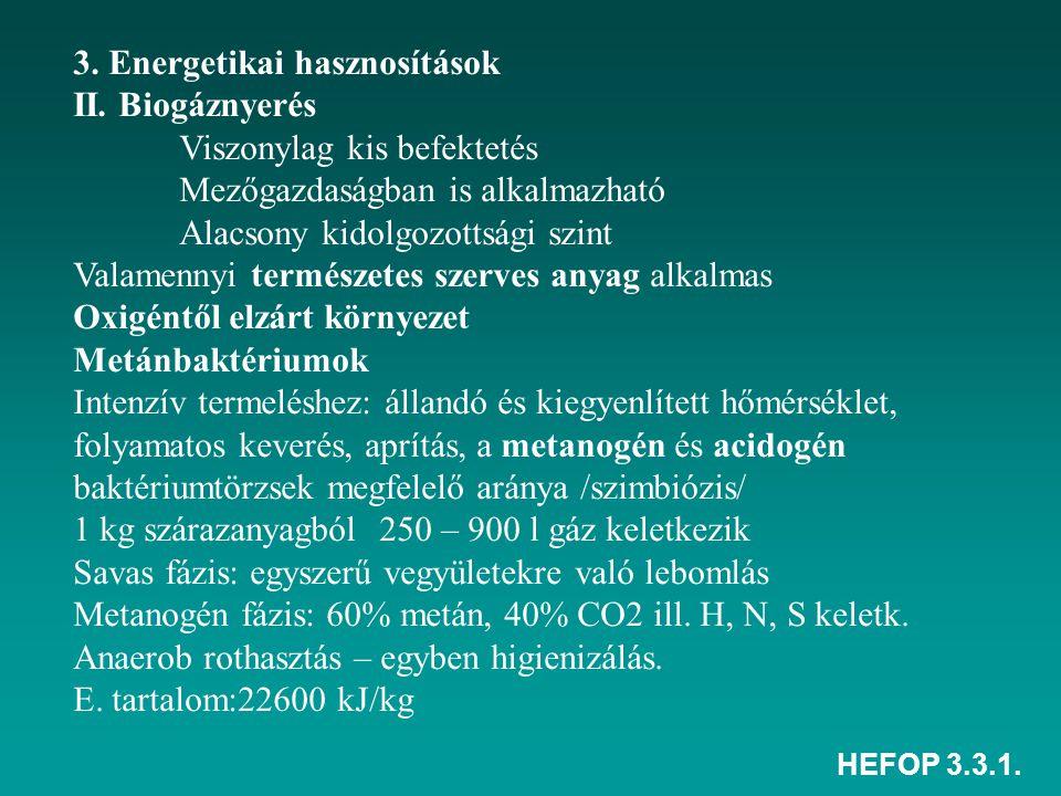 HEFOP 3.3.1. 3. Energetikai hasznosítások II. Biogáznyerés Viszonylag kis befektetés Mezőgazdaságban is alkalmazható Alacsony kidolgozottsági szint Va
