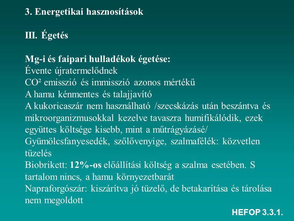 HEFOP 3.3.1. 3. Energetikai hasznosítások III. Égetés Mg-i és faipari hulladékok égetése: Évente újratermelődnek CO² emisszió és immisszió azonos mért