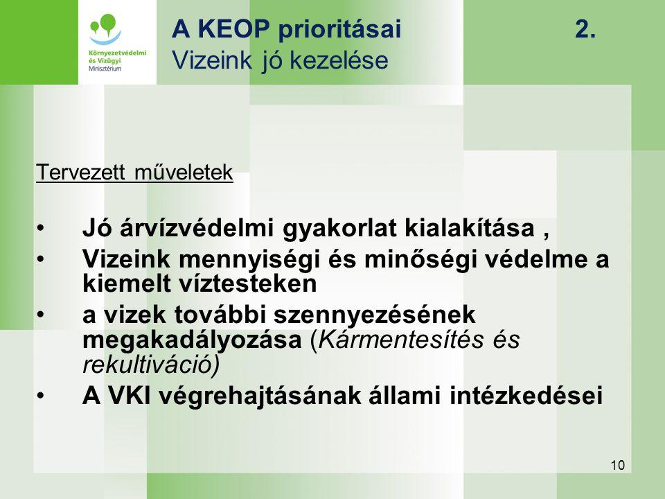 10 A KEOP prioritásai 2. Vizeink jó kezelése Tervezett műveletek Jó árvízvédelmi gyakorlat kialakítása, Vizeink mennyiségi és minőségi védelme a kieme