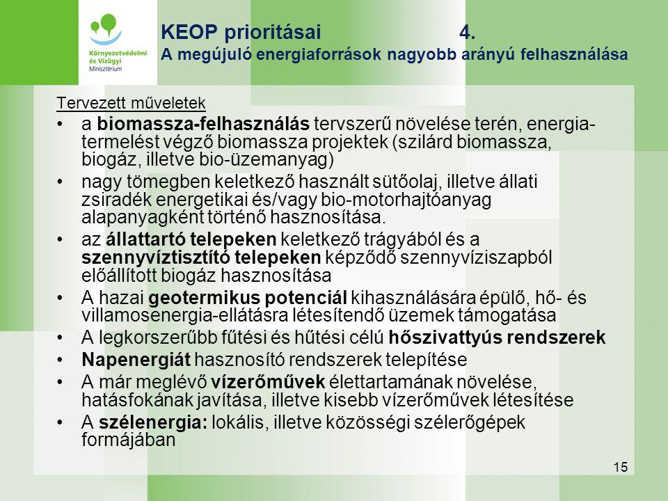 15 KEOP prioritásai 4. A megújuló energiaforrások nagyobb arányú felhasználása Tervezett műveletek a biomassza-felhasználás tervszerű növelése terén,