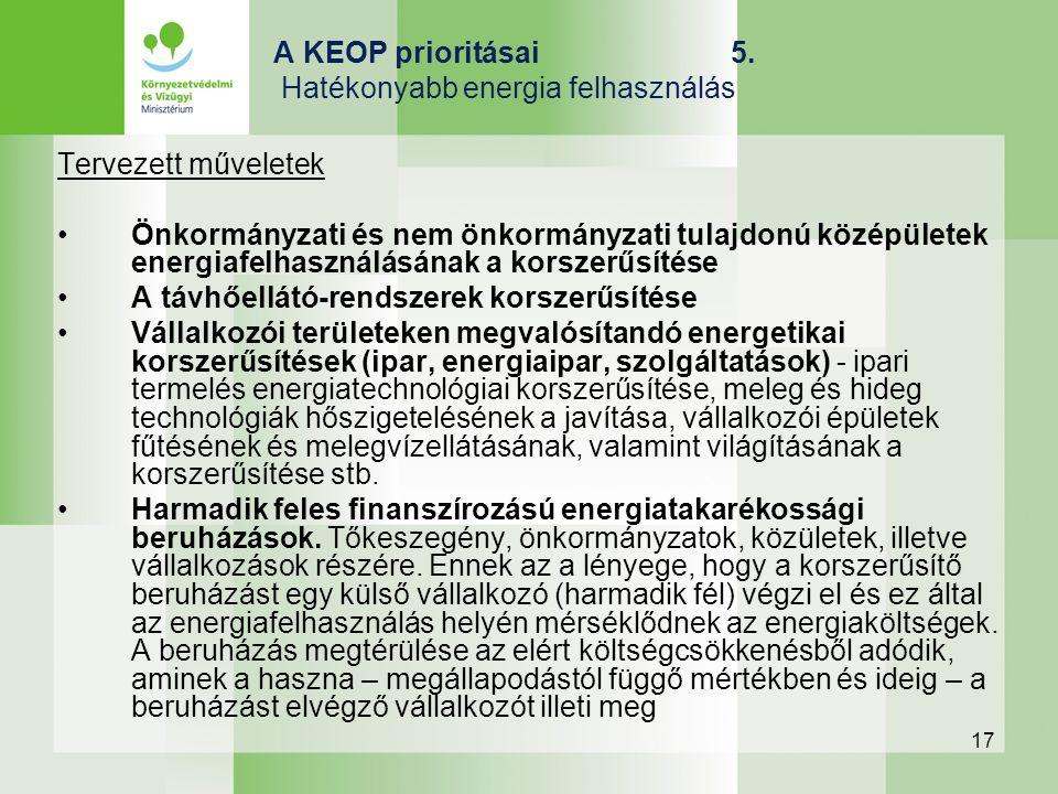 17 A KEOP prioritásai 5. Hatékonyabb energia felhasználás Tervezett műveletek Önkormányzati és nem önkormányzati tulajdonú középületek energiafelhaszn