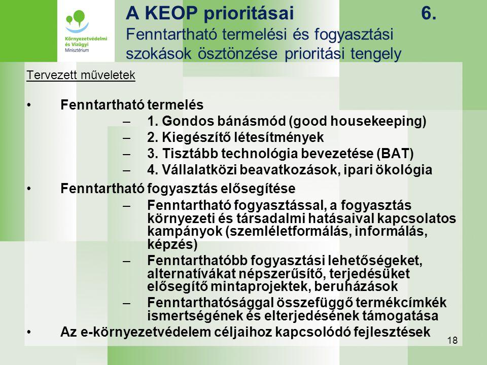 18 A KEOP prioritásai 6. Fenntartható termelési és fogyasztási szokások ösztönzése prioritási tengely Tervezett műveletek Fenntartható termelés –1. Go