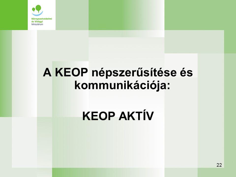 22 A KEOP népszerűsítése és kommunikációja: KEOP AKTÍV