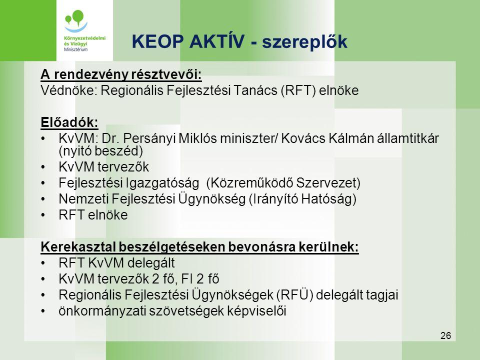 26 A rendezvény résztvevői: Védnöke: Regionális Fejlesztési Tanács (RFT) elnöke Előadók: KvVM: Dr. Persányi Miklós miniszter/ Kovács Kálmán államtitká