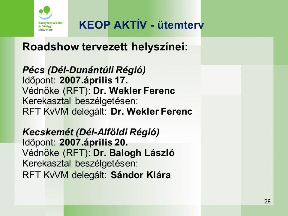 28 Roadshow tervezett helyszínei: Pécs (Dél-Dunántúli Régió) Időpont: 2007.április 17. Védnöke (RFT): Dr. Wekler Ferenc Kerekasztal beszélgetésen: RFT