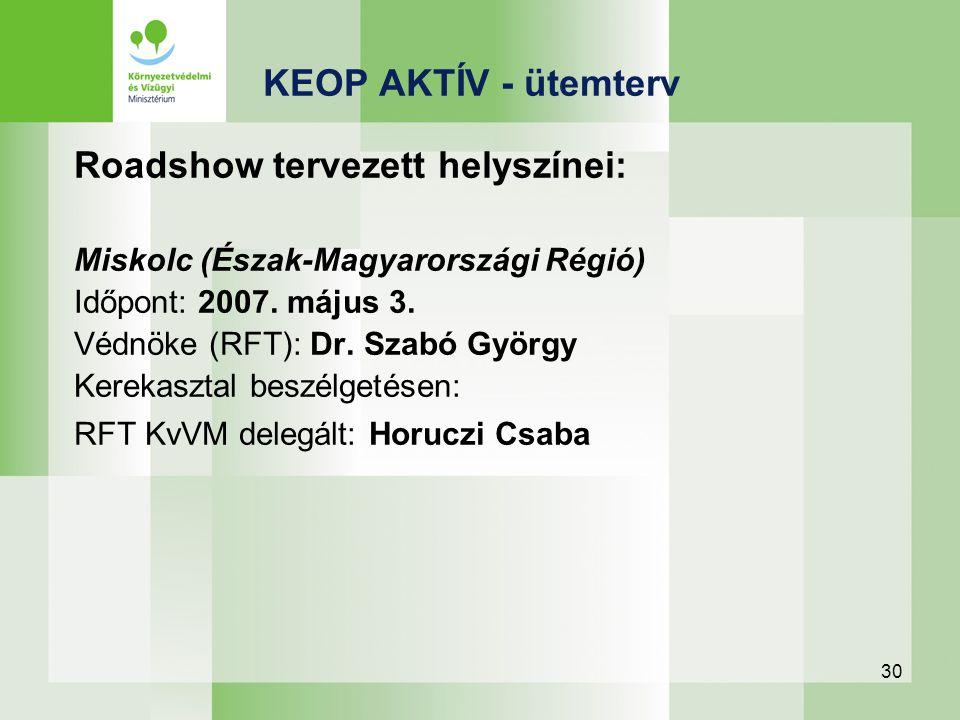 30 Roadshow tervezett helyszínei: Miskolc (Észak-Magyarországi Régió) Időpont: 2007. május 3. Védnöke (RFT): Dr. Szabó György Kerekasztal beszélgetése