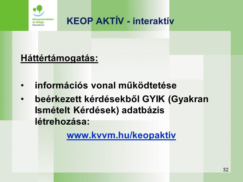 32 Háttértámogatás: információs vonal működtetése beérkezett kérdésekből GYIK (Gyakran Ismételt Kérdések) adatbázis létrehozása: www.kvvm.hu/keopaktiv