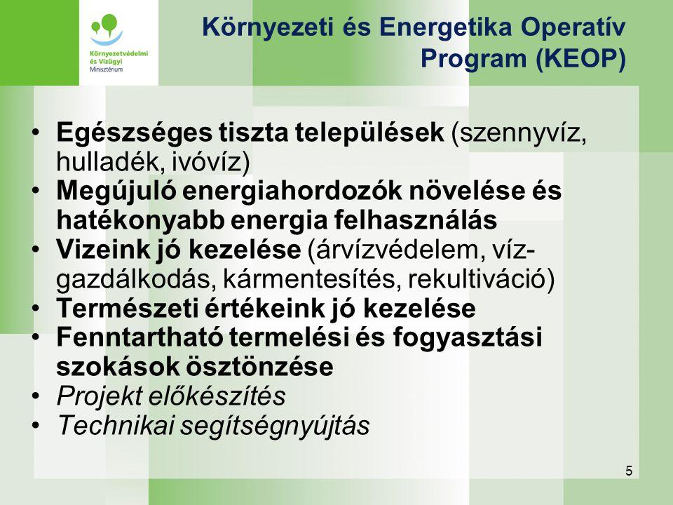 5 Környezeti és Energetika Operatív Program (KEOP) Egészséges tiszta települések (szennyvíz, hulladék, ivóvíz) Megújuló energiahordozók növelése és ha