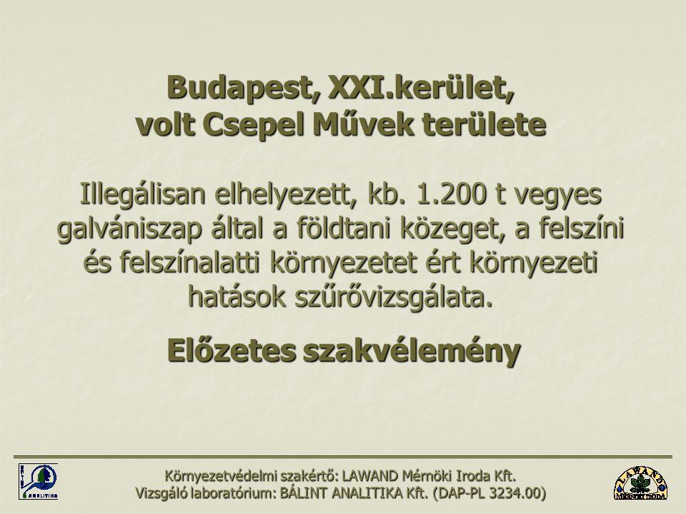 Budapest, XXI.kerület, volt Csepel Művek területe Illegálisan elhelyezett, kb. 1.200 t vegyes galvániszap által a földtani közeget, a felszíni és fels