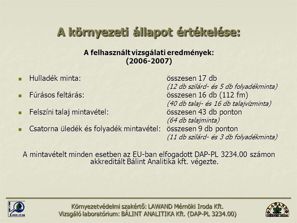 A környezeti állapot értékelése: A felhasznált vizsgálati eredmények: (2006-2007) Hulladék minta:összesen 17 db Hulladék minta:összesen 17 db (12 db s