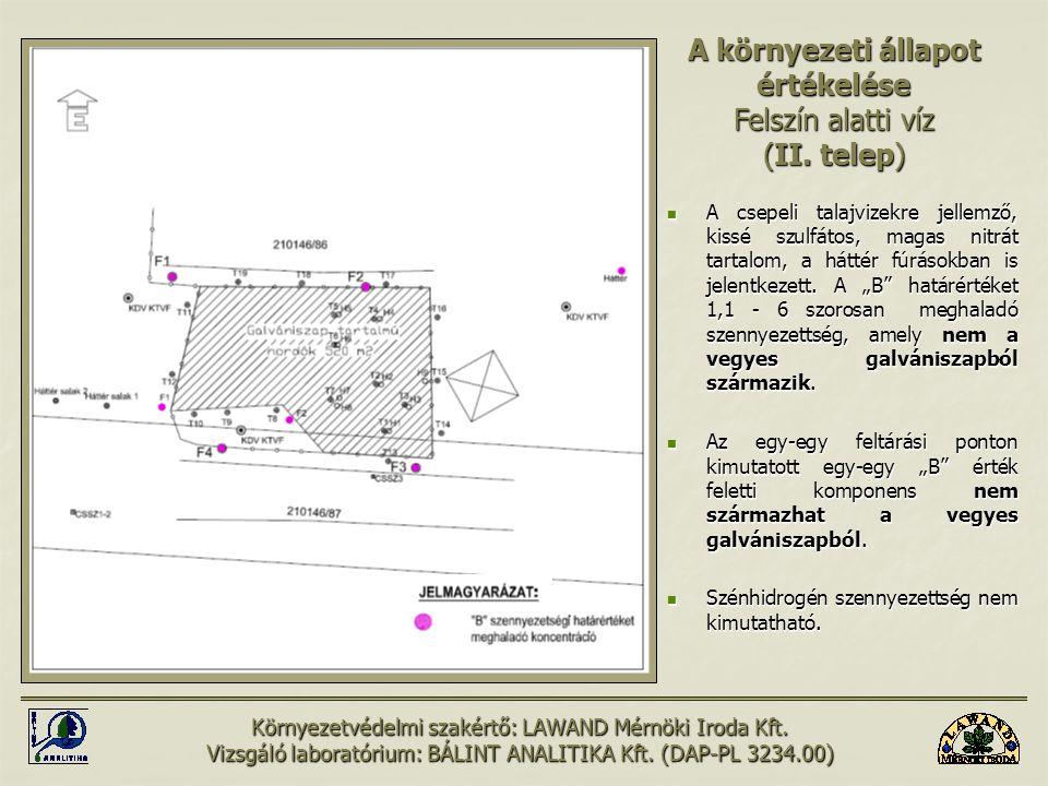 """A csepeli talajvizekre jellemző, kissé szulfátos, magas nitrát tartalom, a háttér fúrásokban is jelentkezett. A """"B"""" határértéket 1,1 - 6 szorosan megh"""