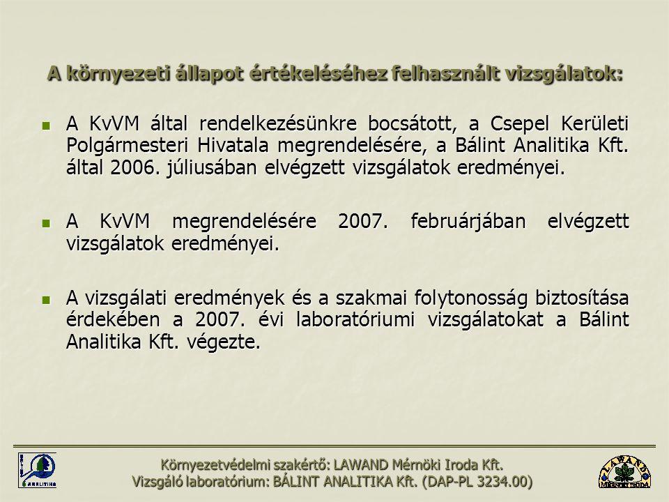 A környezeti állapot értékeléséhez felhasznált vizsgálatok: A KvVM által rendelkezésünkre bocsátott, a Csepel Kerületi Polgármesteri Hivatala megrende