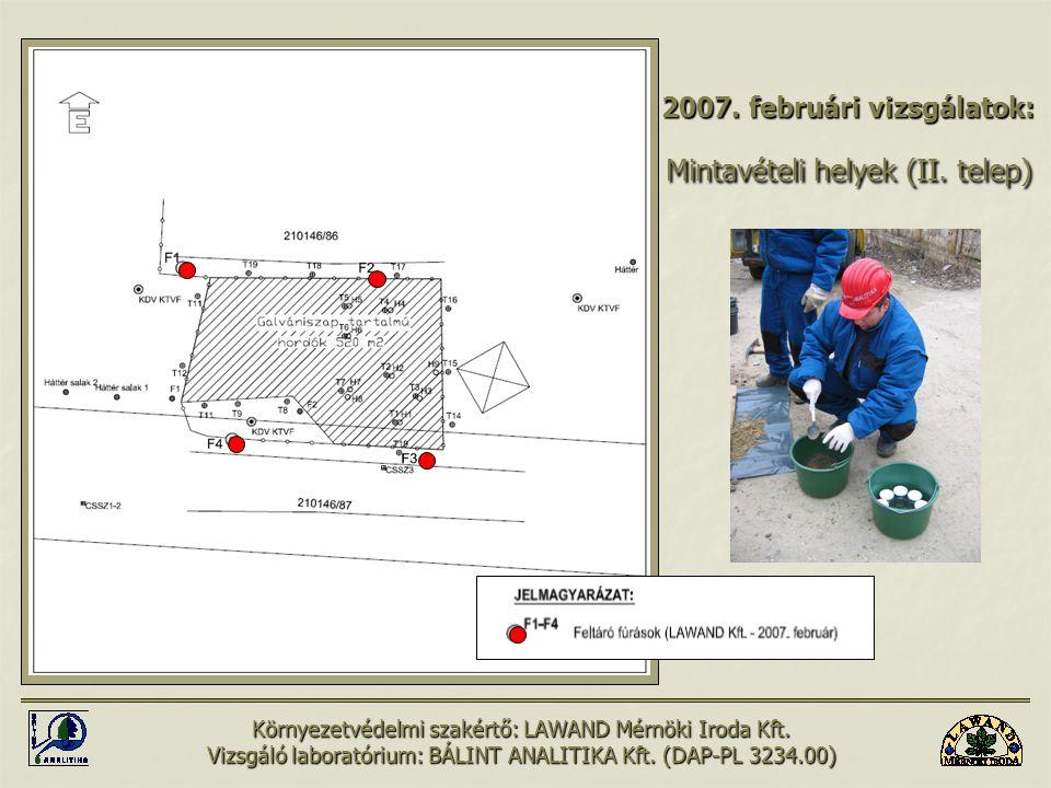 A környezeti állapot értékelése: A felhasznált vizsgálati eredmények: (2006-2007) Hulladék minta:összesen 17 db Hulladék minta:összesen 17 db (12 db szilárd- és 5 db folyadékminta) Fúrásos feltárás:összesen 16 db (112 fm) Fúrásos feltárás:összesen 16 db (112 fm) (40 db talaj- és 16 db talajvízminta) Felszíni talaj mintavétel:összesen 43 db ponton Felszíni talaj mintavétel:összesen 43 db ponton (64 db talajminta) Csatorna üledék és folyadék mintavétel:összesen 9 db ponton Csatorna üledék és folyadék mintavétel:összesen 9 db ponton (11 db szilárd- és 3 db folyadékminta) A mintavételt minden esetben az EU-ban elfogadott DAP-PL 3234.00 számon akkreditált Bálint Analitika kft.