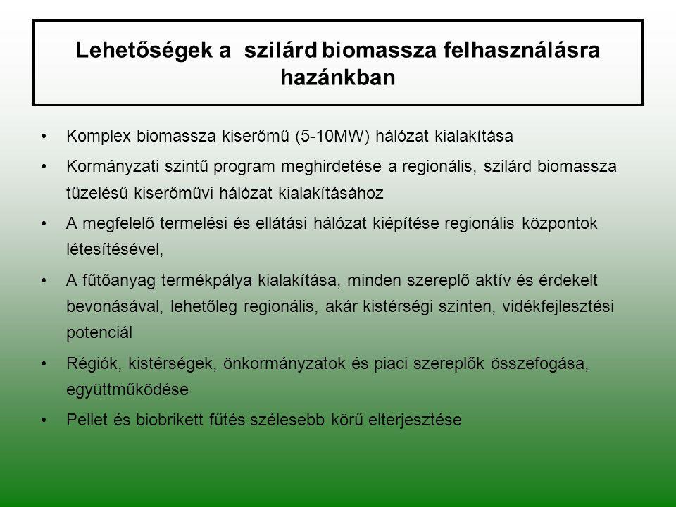 Lehetőségek a szilárd biomassza felhasználásra hazánkban Komplex biomassza kiserőmű (5-10MW) hálózat kialakítása Kormányzati szintű program meghirdeté