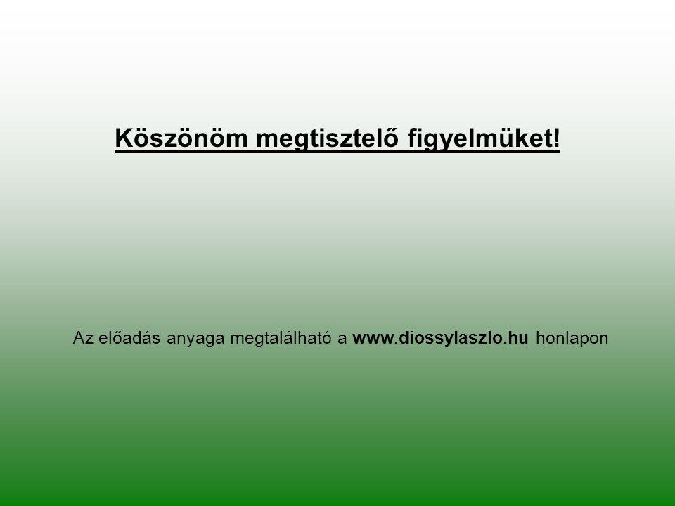 Köszönöm megtisztelő figyelmüket! Az előadás anyaga megtalálható a www.diossylaszlo.hu honlapon