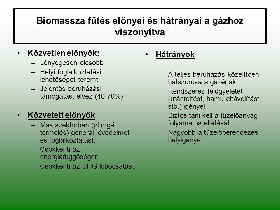 Biomassza fűtés előnyei és hátrányai a gázhoz viszonyítva Közvetlen előnyök: –Lényegesen olcsóbb –Helyi foglalkoztatási lehetőséget teremt –Jelentős b