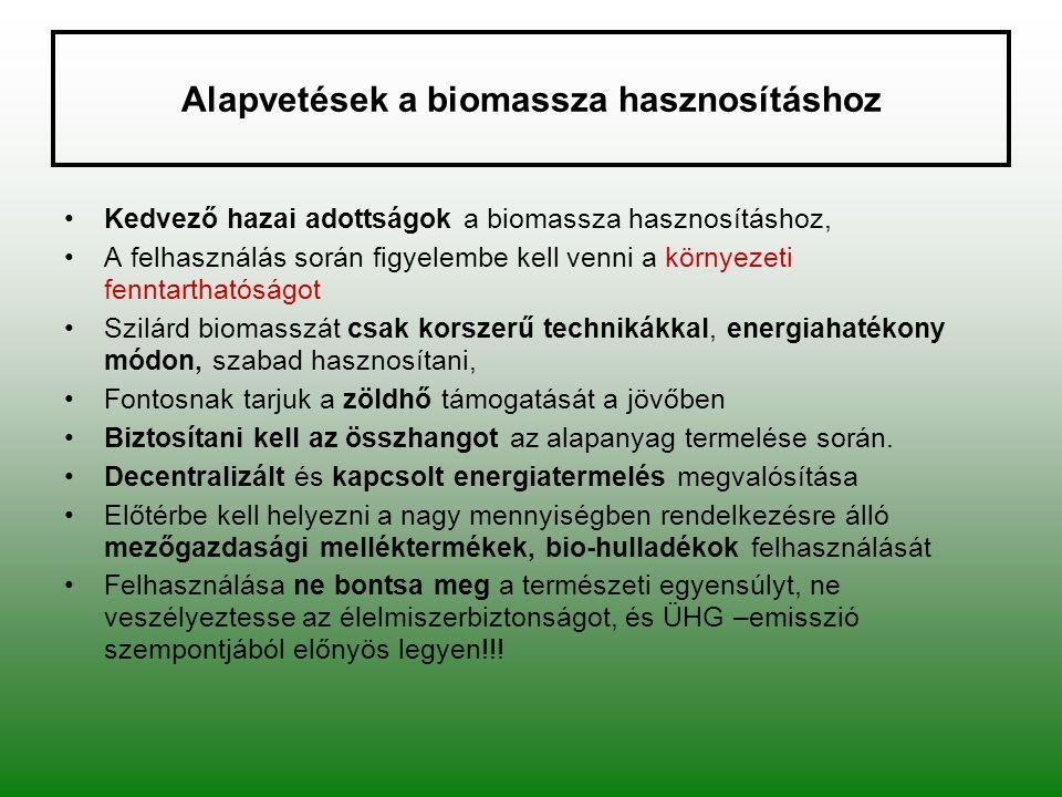 Alapvetések a biomassza hasznosításhoz Kedvező hazai adottságok a biomassza hasznosításhoz, A felhasználás során figyelembe kell venni a környezeti fe
