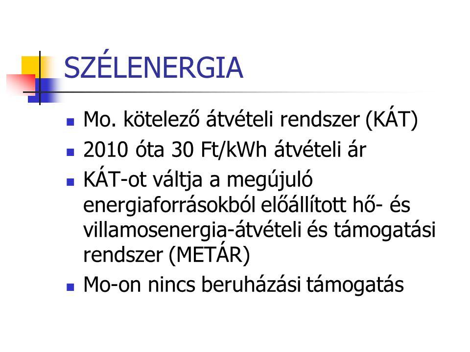 SZÉLENERGIA Mo. kötelező átvételi rendszer (KÁT) 2010 óta 30 Ft/kWh átvételi ár KÁT-ot váltja a megújuló energiaforrásokból előállított hő- és villamo