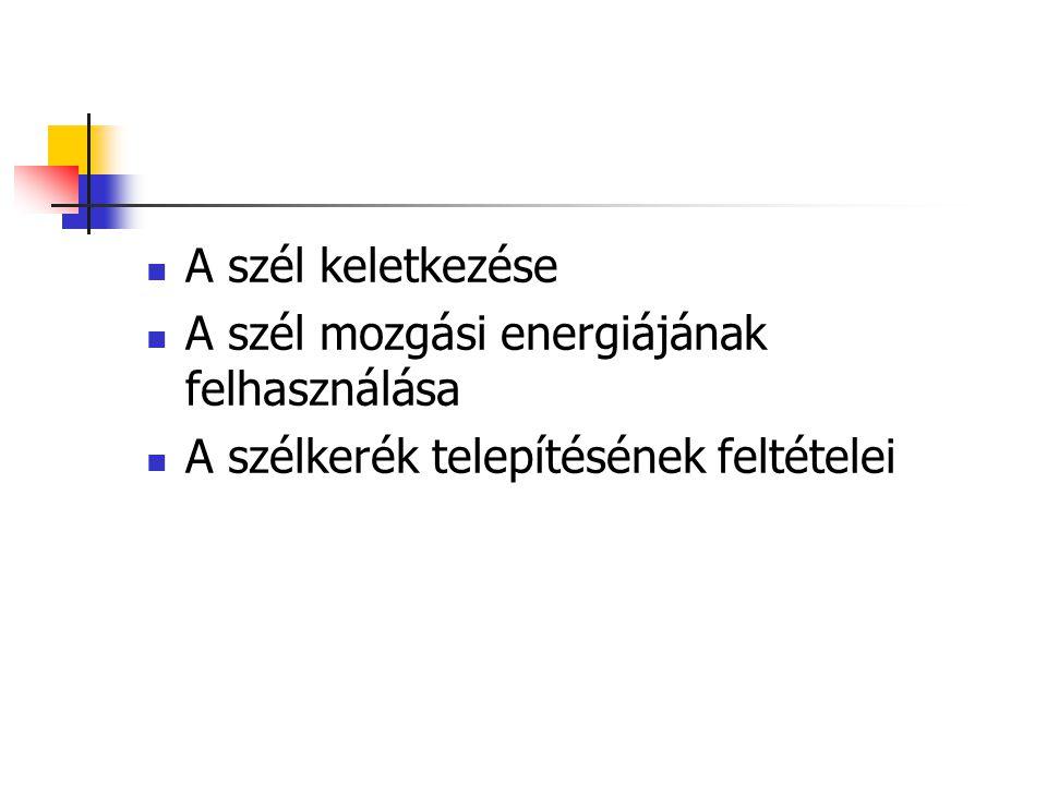 Magyarországi szélviszonyok 10 m magasságban (táblázat szerint ) 75 m magasságban > 5.5 m/s az ország területének kb.
