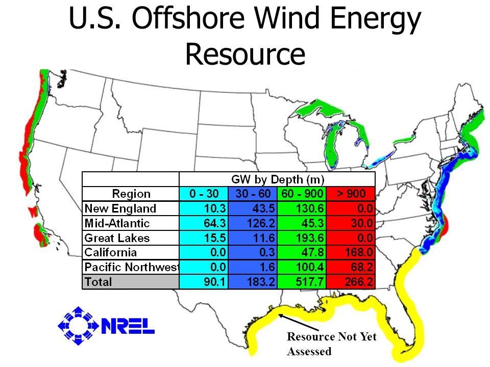 U.S. Offshore Wind Energy Opportunity U.S. Department of Energy National Renewable Energy Laboratory U.S. Offshore Wind Energy Resource Resource Not Y