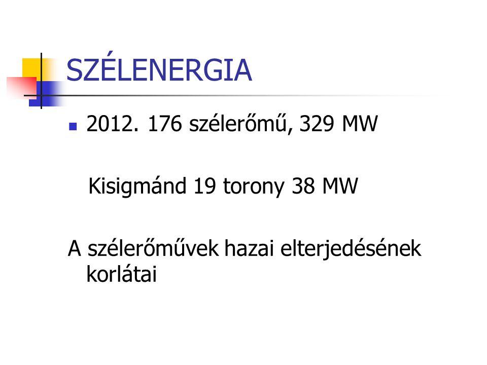 SZÉLENERGIA 2012. 176 szélerőmű, 329 MW Kisigmánd 19 torony 38 MW A szélerőművek hazai elterjedésének korlátai