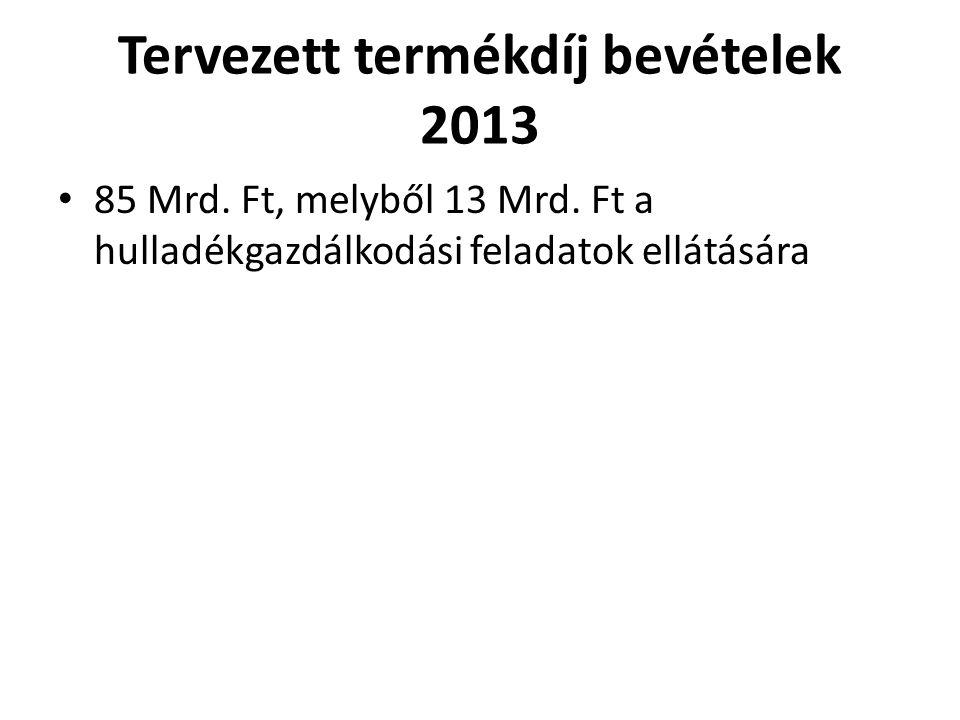 Tervezett termékdíj bevételek 2013 85 Mrd. Ft, melyből 13 Mrd.