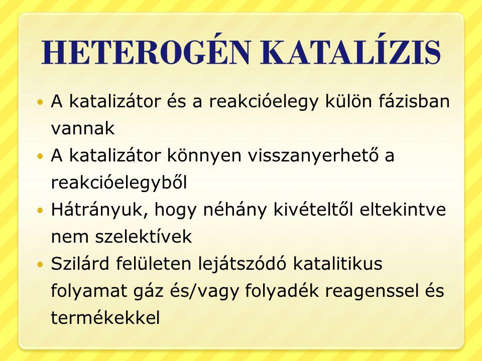 HETEROGÉN KATALÍZIS A katalizátor és a reakcióelegy külön fázisban vannak A katalizátor könnyen visszanyerhető a reakcióelegyből Hátrányuk, hogy néhán