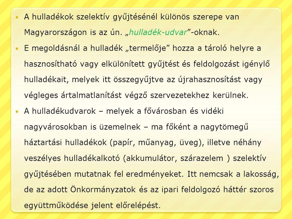 """A hulladékok szelektív gyűjtésénél különös szerepe van Magyarországon is az ún. """"hulladék-udvar""""-oknak. E megoldásnál a hulladék """"termelője"""" hozza a t"""