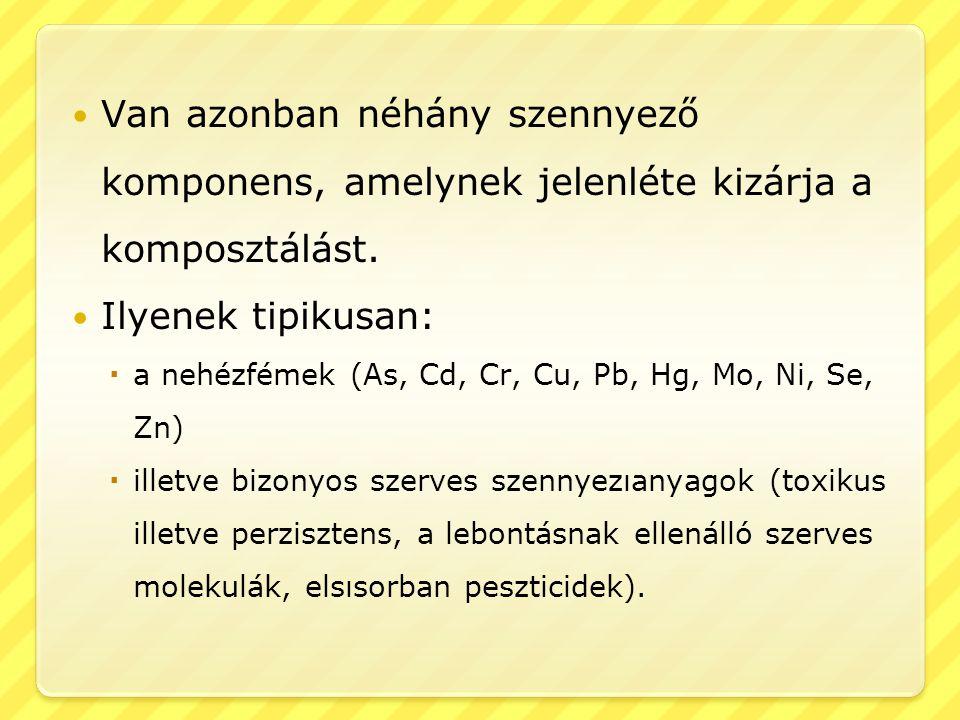 Van azonban néhány szennyező komponens, amelynek jelenléte kizárja a komposztálást. Ilyenek tipikusan:  a nehézfémek (As, Cd, Cr, Cu, Pb, Hg, Mo, Ni,
