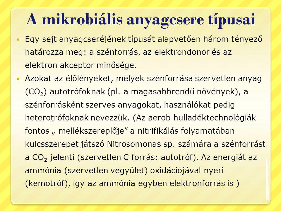 A mikrobiális anyagcsere típusai Egy sejt anyagcseréjének típusát alapvetően három tényező határozza meg: a szénforrás, az elektrondonor és az elektro