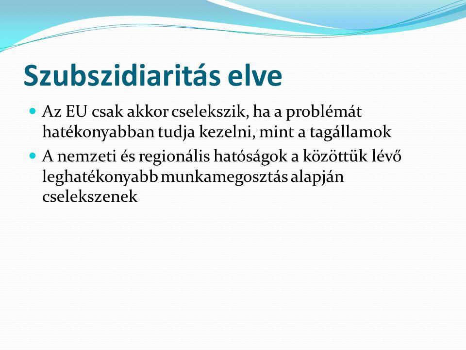 Szubszidiaritás elve Az EU csak akkor cselekszik, ha a problémát hatékonyabban tudja kezelni, mint a tagállamok A nemzeti és regionális hatóságok a közöttük lévő leghatékonyabb munkamegosztás alapján cselekszenek