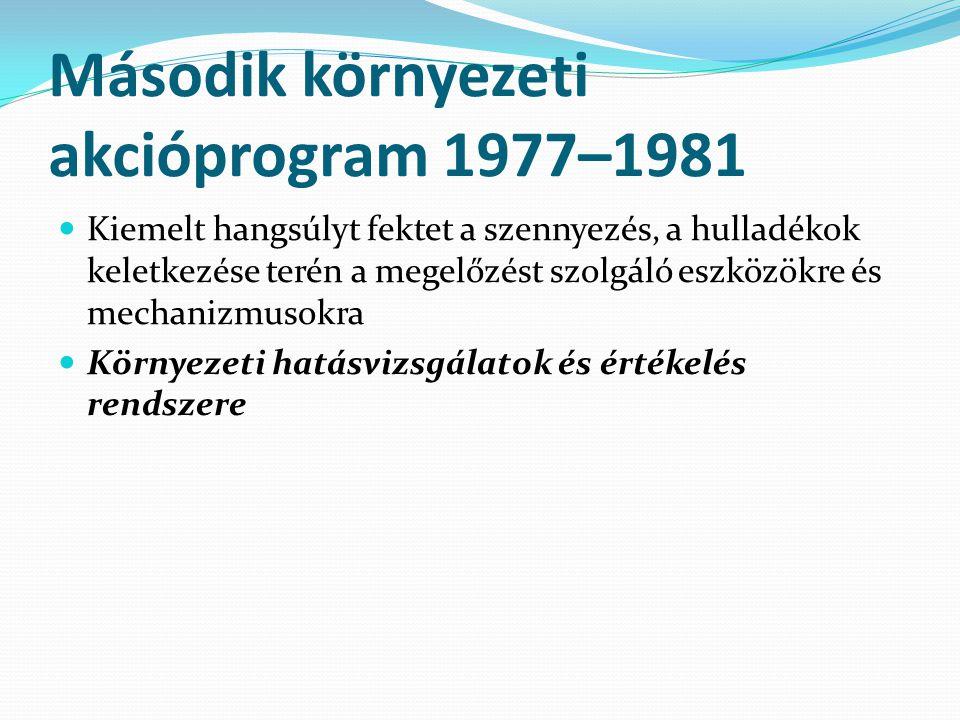 Második környezeti akcióprogram 1977–1981 Kiemelt hangsúlyt fektet a szennyezés, a hulladékok keletkezése terén a megelőzést szolgáló eszközökre és mechanizmusokra Környezeti hatásvizsgálatok és értékelés rendszere